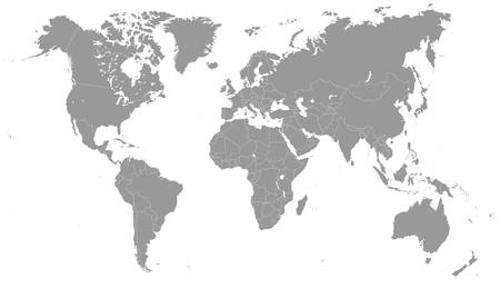 the americas: Grayscale World Map - illustration