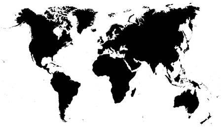 Zwarte Kaart van de Wereld - illustratie
