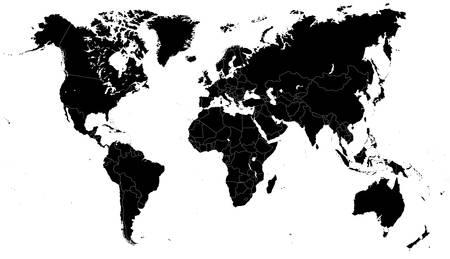 黒い世界地図 - イラスト