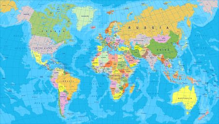 green and purple: Colored World Map - borders, countries and cities - illustration Illustration