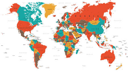 the americas: Green Red Yellow Brown World Map - borders, countries and cities - illustration Illustration