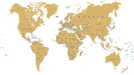 Golden World Map - borders, countries, cities and globes - illustration Illustration