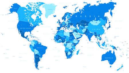 Blauwe Kaart van de Wereld - randen, landen en steden - illustratie
