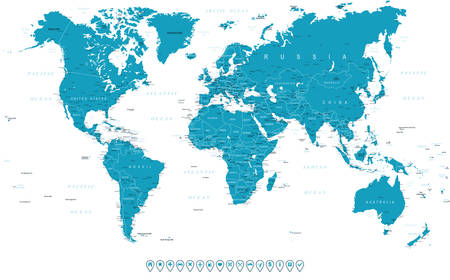 the americas: World Map and navigation icons - illustration Illustration