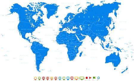 Blue World Map and navigation icons - illustration
