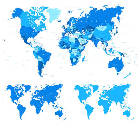 middle east: Blue World Map - borders, countries and cities - illustration Illustration