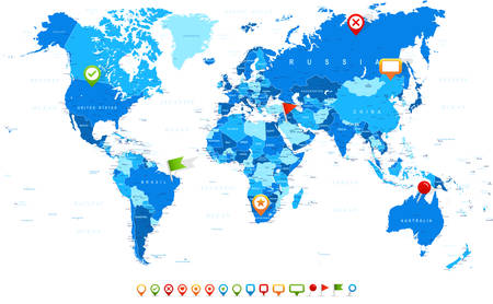 navigation icons: World Map and navigation icons - illustration Illustration