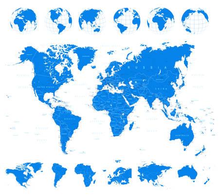 Mappa del mondo, globi e Continenti - illustrazione