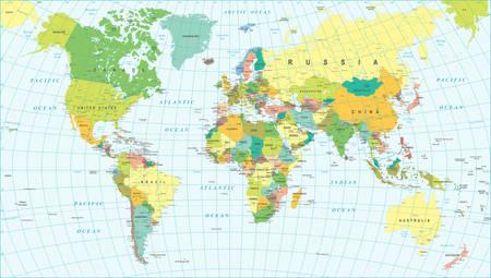 campestre: Mapa del mundo de color - bordes, países y ciudades - ilustración Vectores