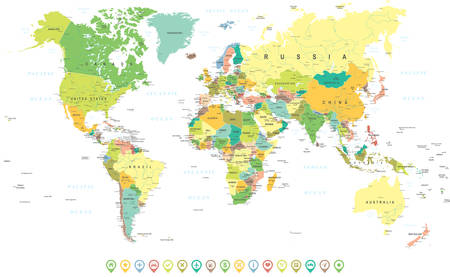 Colored World Map and Navigation Icons - illustration