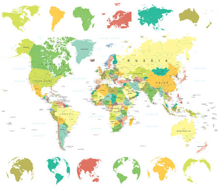 World Map, Globes and Continents - illustration