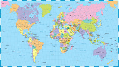 Colored World Map - randen, landen en steden - illustratie
