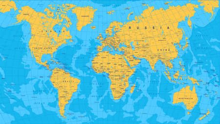 Yellow Blue World Map - borders, countries and cities - illustration