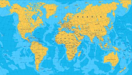 Jaune Bleu Carte du monde - les frontières, les pays et les villes - illustration