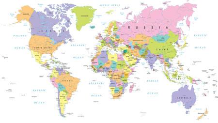 色の世界地図 - 国境、国と都市 - イラスト