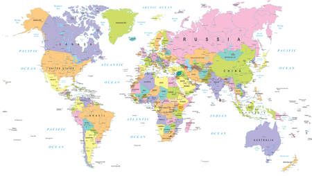 Colored World Map - borders, countries and cities - illustration Stock Illustratie