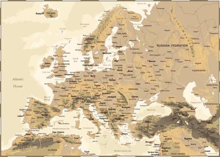 Altamente dettagliata illustrazione vettoriale colore della mappa europa -borders, paesi e città - illustrazione