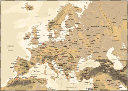 Highly detailed colored vector illustration of Europe map -borders, countries and cities - illustration Vectores