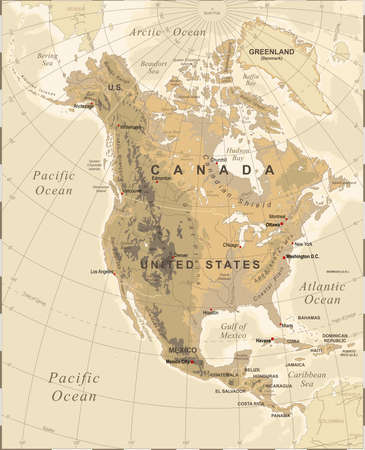 Highly detailed colored illustration of North America map -borders, countries and cities - illustration