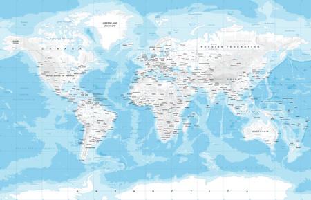 Zeer gedetailleerde gekleurde vector illustratie van de kaart van de wereld - de grenzen, landen en steden - illustratie