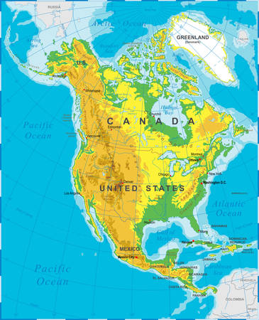 relief: Highly detailed colored illustration of North America map -borders, countries and cities - illustration