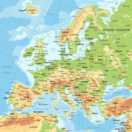 Altamente dettagliata illustrazione vettoriale colore della mappa europa -borders, paesi e città - illustrazione Vettoriali