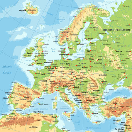 Highly detailed colored vector illustration of Europe map -borders, countries and cities - illustration Ilustração