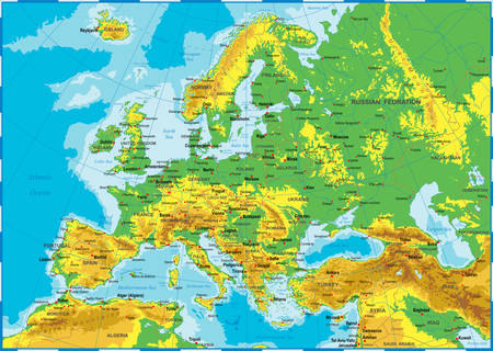 Highly detailed colored vector illustration of Europe map -borders, countries and cities - illustration Ilustracja