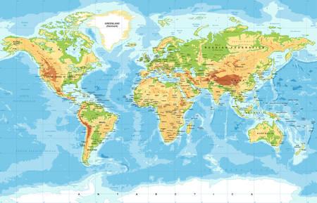 Wektor Fizyczna mapa świata