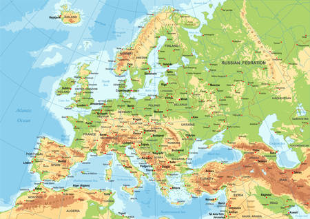 Highly detailed colored vector illustration of Europe map -borders, countries and cities - illustration Illusztráció