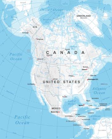 Zeer gedetailleerde gekleurde illustratie van Noord-Amerika kaart -borders, landen en steden - illustratie