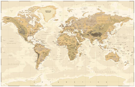 Vintage Old Vector World Map Çizim