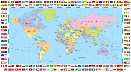 Political World Map and Flags