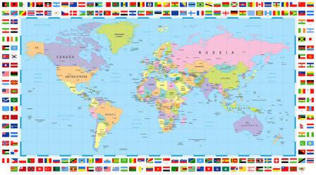 Polityczna mapa świata i flagi
