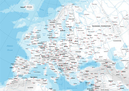 Highly detailed colored vector illustration of Europe map -borders, countries and cities - illustration Vettoriali