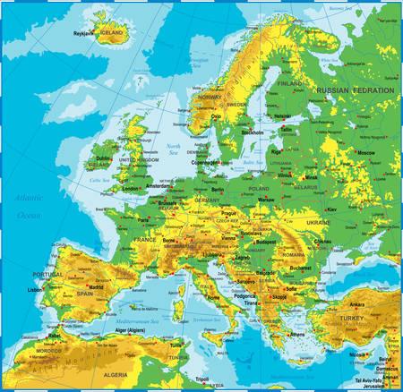 Bardzo szczegółowe kolorowych ilustracji wektorowych Mapa Europy -borders, krajów i miast - ilustracja