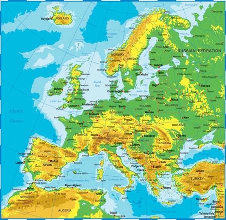 the country: Highly detailed colored vector illustration of Europe map -borders, countries and cities - illustration Illustration