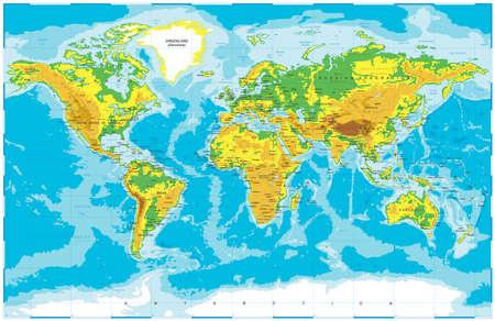 Vector Physical World Map Vektorové ilustrace