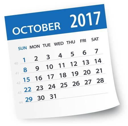october calendar: 2017 octubre Calendario