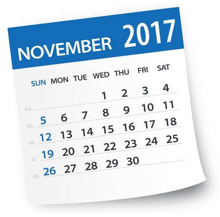 calendario noviembre: 2017 November Calendar