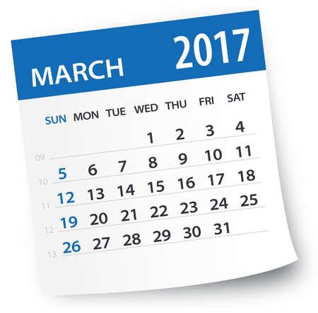 Maart 2017 Calendar Stock Illustratie