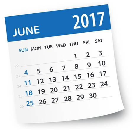 2017 年 6 月カレンダー