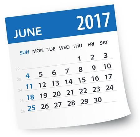 Juni 2017 Kalender Stockfoto - 64883122