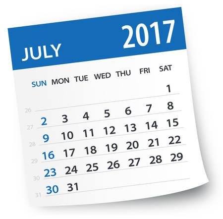 July 2017 Calendar 向量圖像