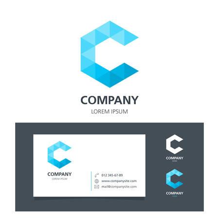 Lettre C - Logo Élément graphique avec carte de visite - illustration