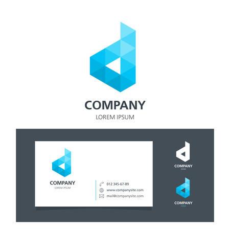 Brief D - Logo Design Element met visitekaartje - illustratie