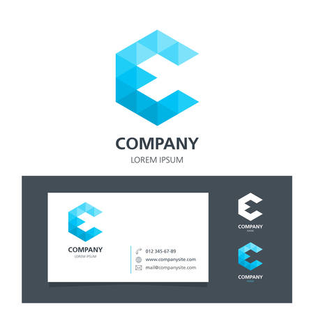 communication industry: Letter E - Logo Design Element with Business Card - illustration