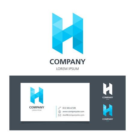 Letter H - Logo Design Element with Business Card - illustration