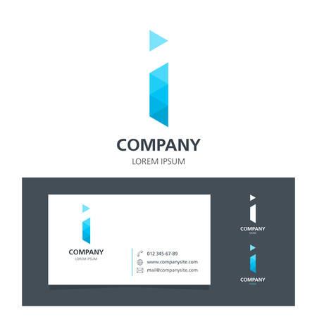 Letter I - Logo Design Element with Business Card - illustration Illustration