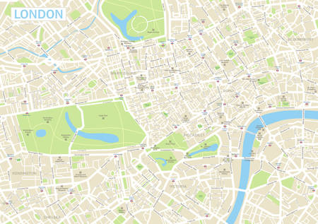 Highly detailed vector map of London.It's includes: - streets- parks- names of subdistricts- points of interests Ilustração
